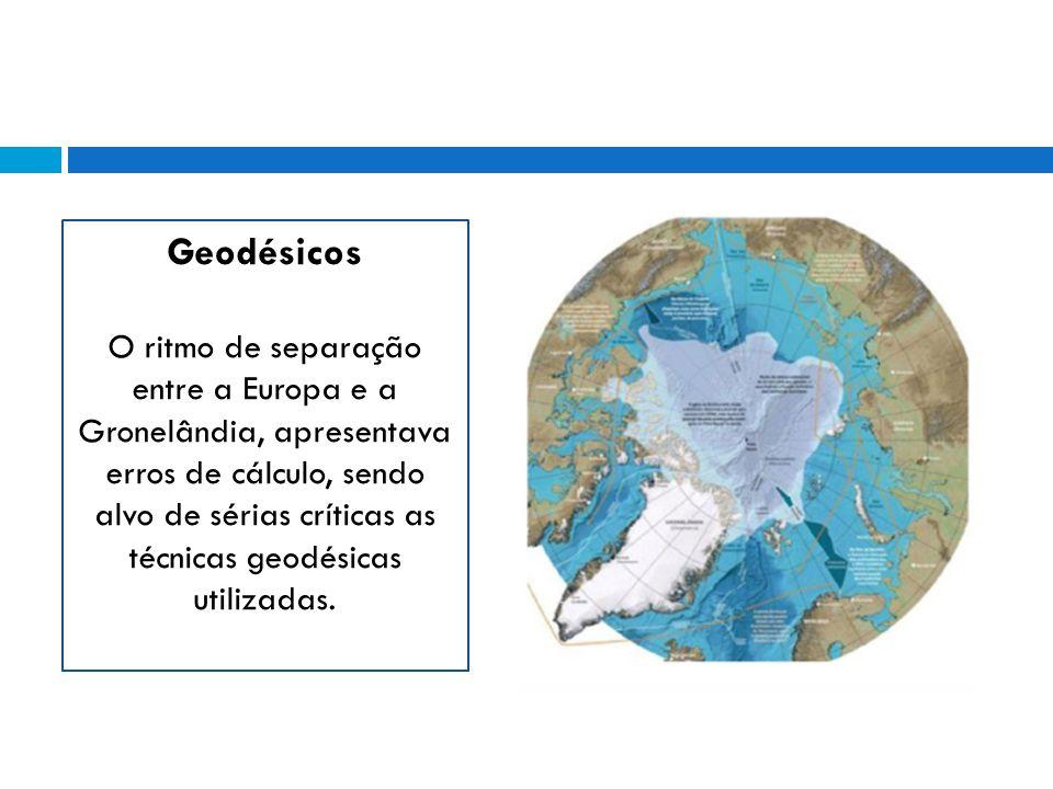 Geodésicos O ritmo de separação entre a Europa e a Gronelândia, apresentava erros de cálculo, sendo alvo de sérias críticas as técnicas geodésicas utilizadas.