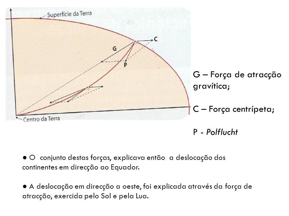 G – Força de atracção gravítica; C – Força centrípeta; P - Polflucht O conjunto destas forças, explicava então a deslocação dos continentes em direcção ao Equador.