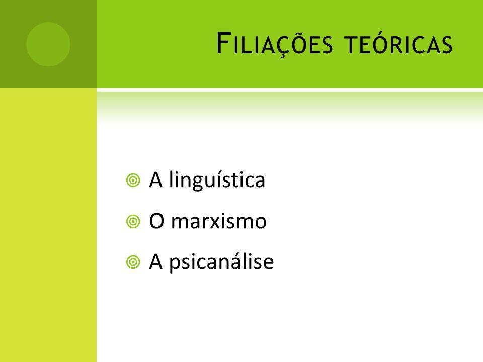 F ILIAÇÕES TEÓRICAS A linguística O marxismo A psicanálise