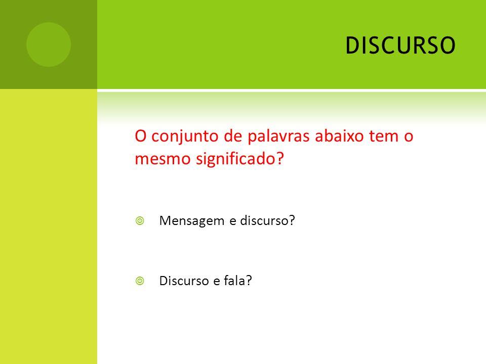 DISCURSO O conjunto de palavras abaixo tem o mesmo significado? Mensagem e discurso? Discurso e fala?
