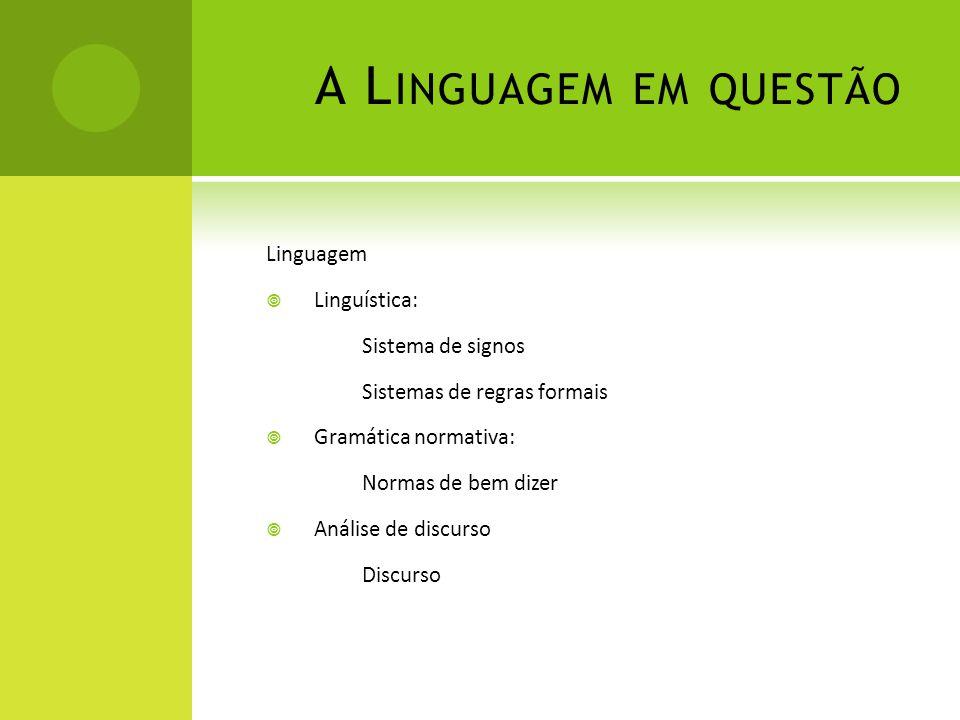 A L INGUAGEM EM QUESTÃO Linguagem Linguística: Sistema de signos Sistemas de regras formais Gramática normativa: Normas de bem dizer Análise de discur