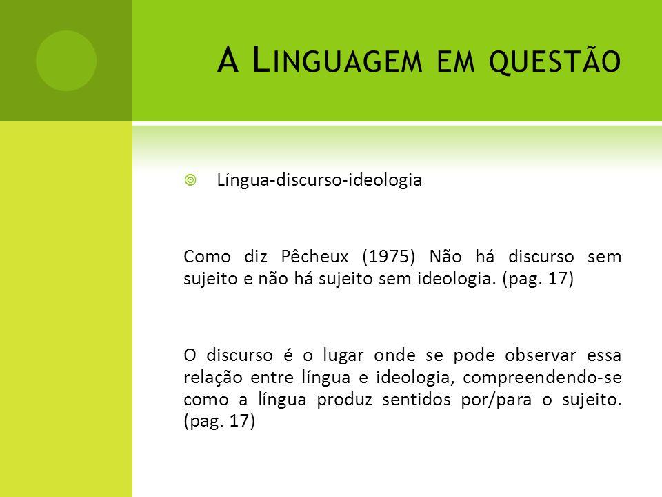 A L INGUAGEM EM QUESTÃO Língua-discurso-ideologia Como diz Pêcheux (1975) Não há discurso sem sujeito e não há sujeito sem ideologia. (pag. 17) O disc