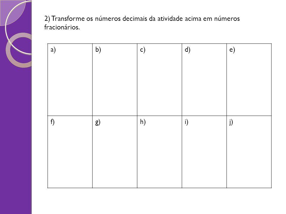 2) Transforme os números decimais da atividade acima em números fracionários. a)b)c)d)e) f)g)h)i)j)
