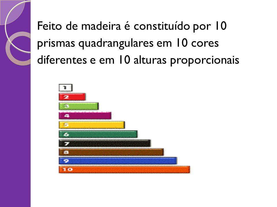 Feito de madeira é constituído por 10 prismas quadrangulares em 10 cores diferentes e em 10 alturas proporcionais