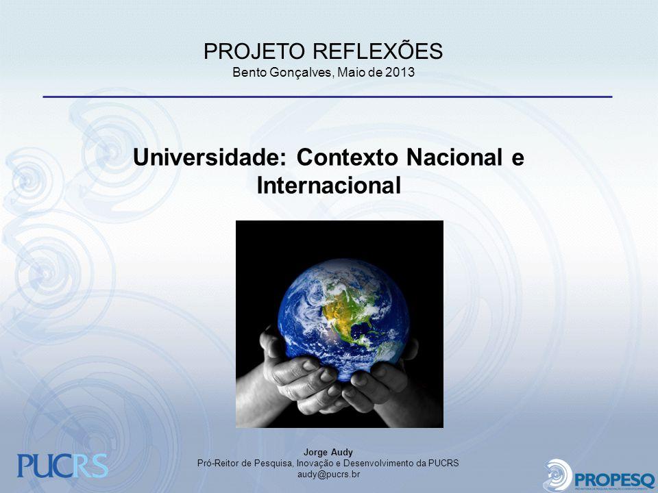 Universidade: Contexto Nacional e Internacional Jorge Audy Pró-Reitor de Pesquisa, Inovação e Desenvolvimento da PUCRS audy@pucrs.br PROJETO REFLEXÕES