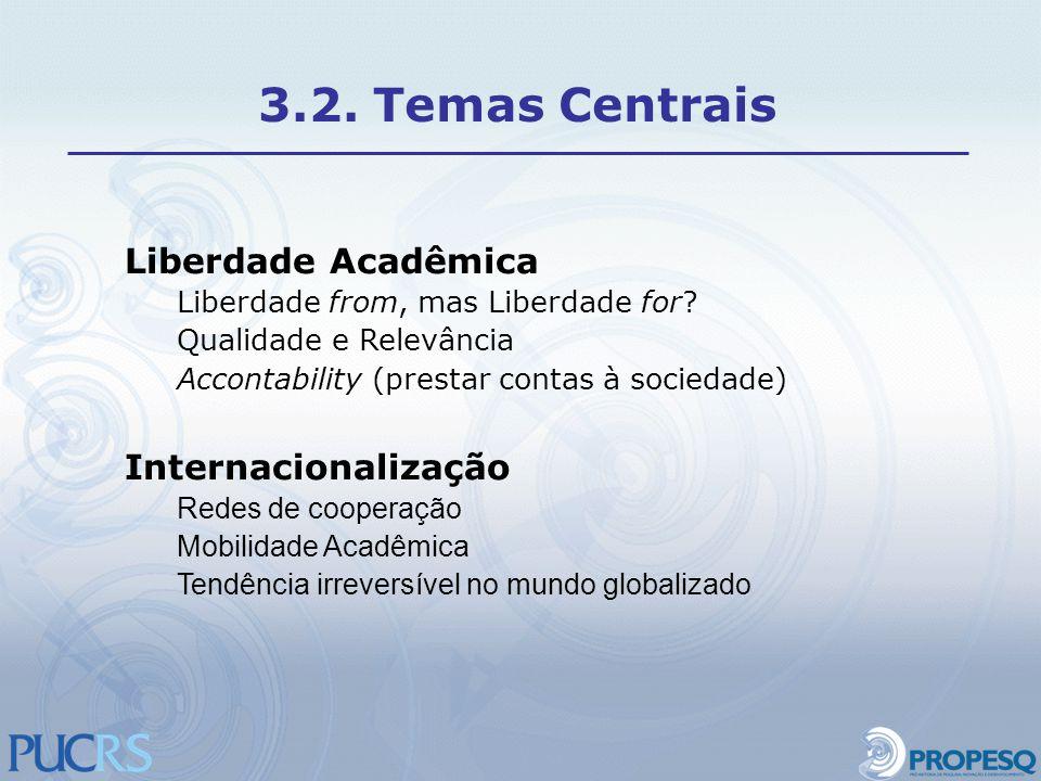 Liberdade Acadêmica Liberdade from, mas Liberdade for? Qualidade e Relevância Accontability (prestar contas à sociedade) Internacionalização Redes de