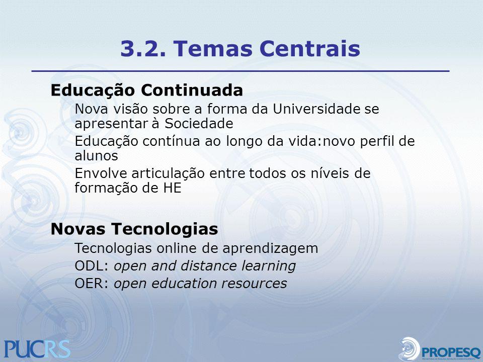 Educação Continuada Nova visão sobre a forma da Universidade se apresentar à Sociedade Educação contínua ao longo da vida:novo perfil de alunos Envolv