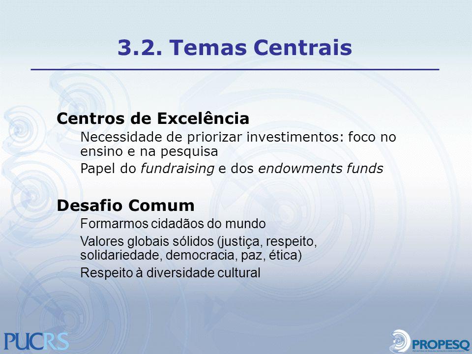 Centros de Excelência Necessidade de priorizar investimentos: foco no ensino e na pesquisa Papel do fundraising e dos endowments funds Desafio Comum F