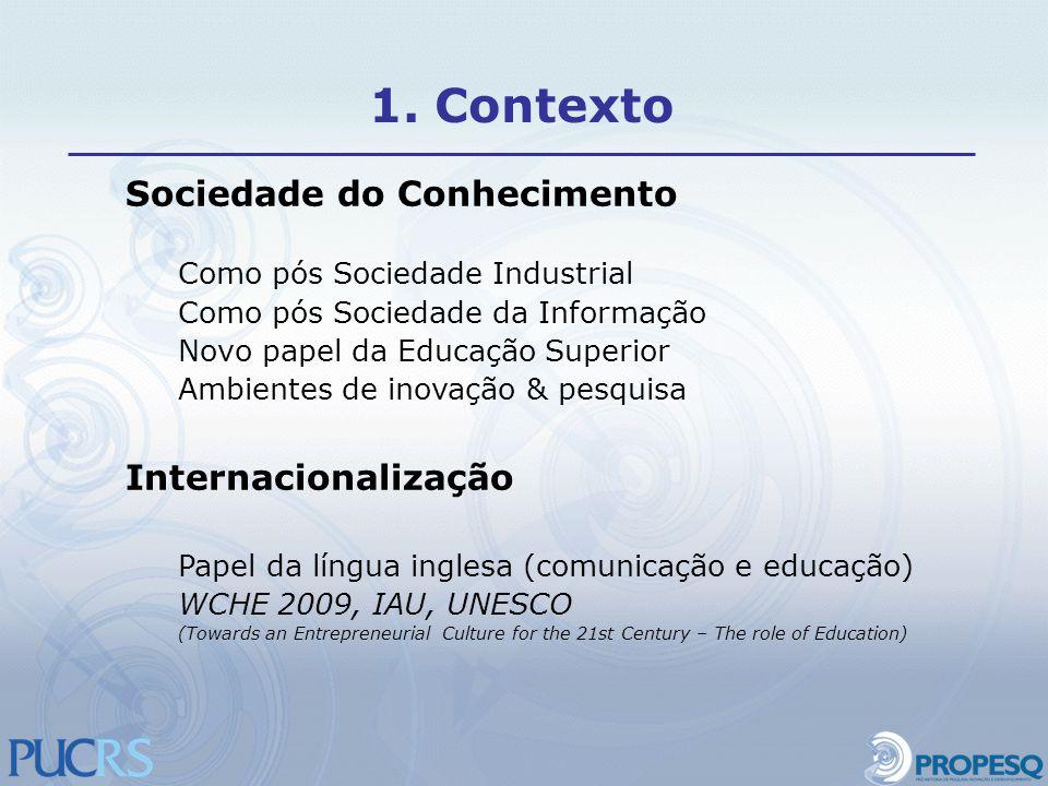 Sociedade do Conhecimento Como pós Sociedade Industrial Como pós Sociedade da Informação Novo papel da Educação Superior Ambientes de inovação & pesqu