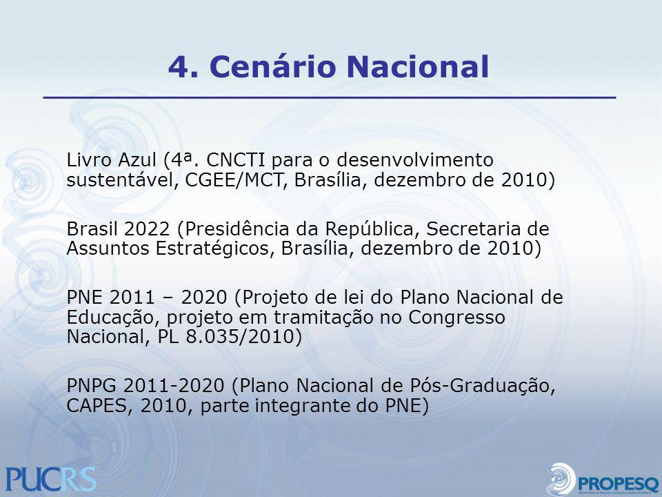 Livro Azul (4ª. CNCTI para o desenvolvimento sustentável, CGEE/MCT, Brasília, dezembro de 2010) Brasil 2022 (Presidência da República, Secretaria de A