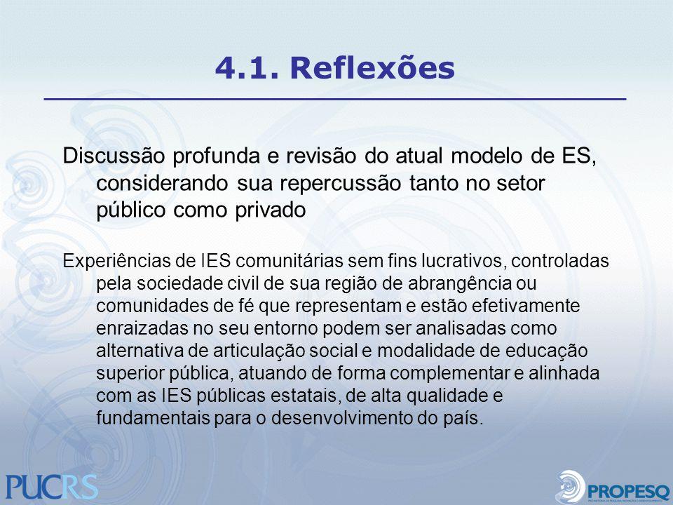 Discussão profunda e revisão do atual modelo de ES, considerando sua repercussão tanto no setor público como privado Experiências de IES comunitárias