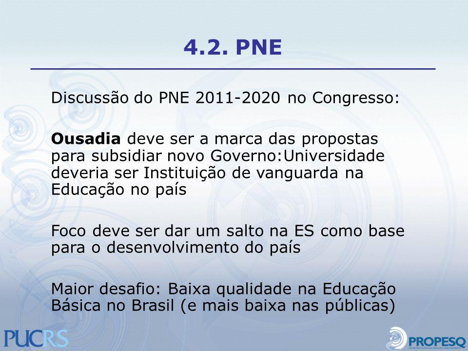 Discussão do PNE 2011-2020 no Congresso: Ousadia deve ser a marca das propostas para subsidiar novo Governo:Universidade deveria ser Instituição de va