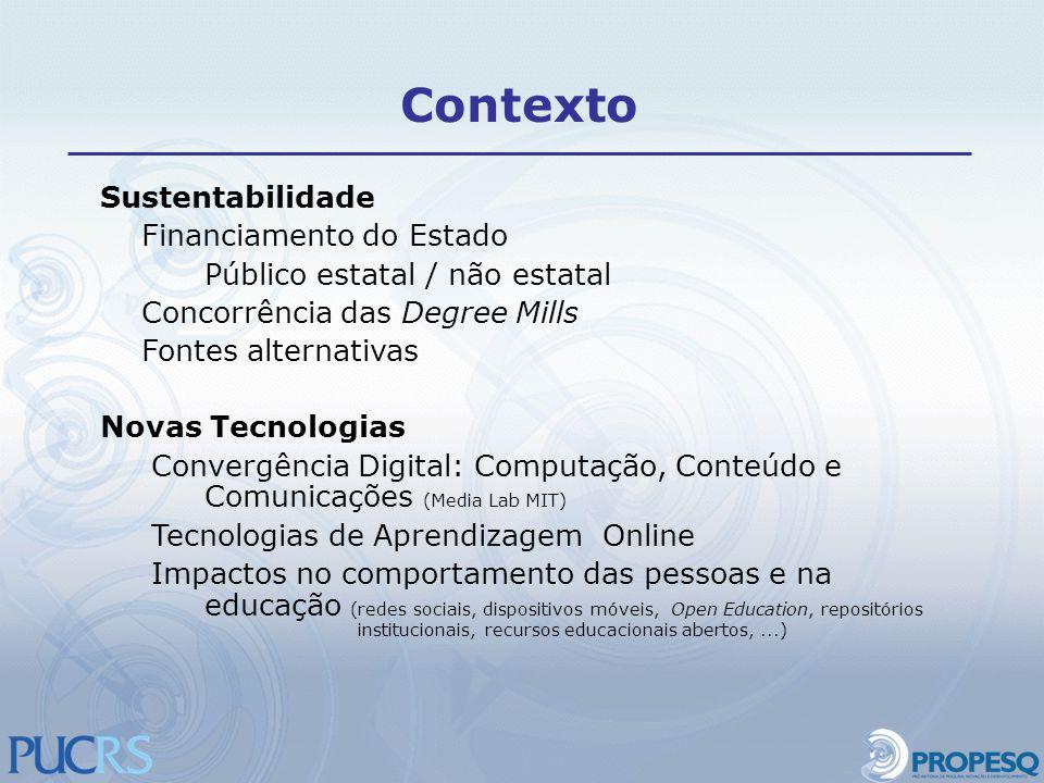 Sustentabilidade Financiamento do Estado Público estatal / não estatal Concorrência das Degree Mills Fontes alternativas Novas Tecnologias Convergênci