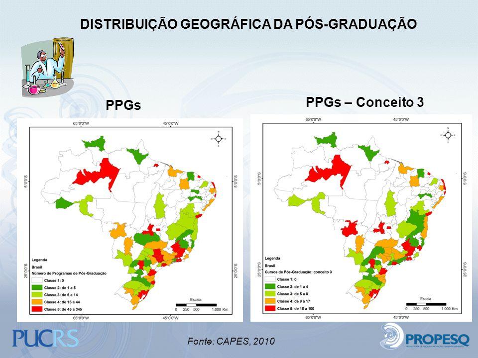 PPGs PPGs – Conceito 3 DISTRIBUIÇÃO GEOGRÁFICA DA PÓS-GRADUAÇÃO Fonte: CAPES, 2010