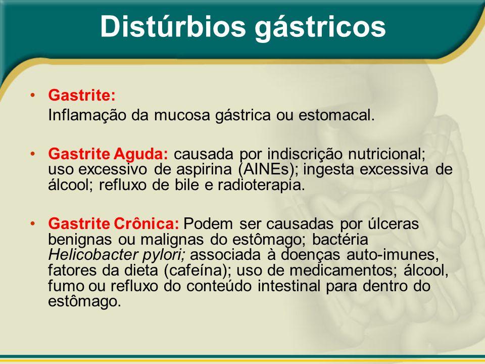 Gastrite: Inflamação da mucosa gástrica ou estomacal. Gastrite Aguda: causada por indiscrição nutricional; uso excessivo de aspirina (AINEs); ingesta
