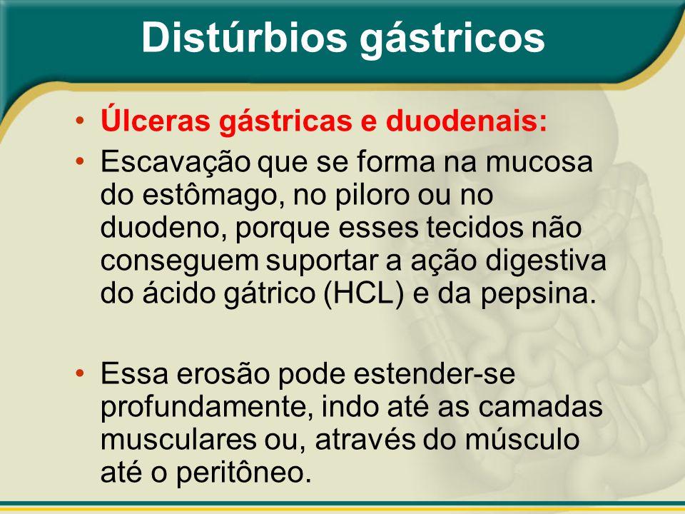 Úlceras gástricas e duodenais: Escavação que se forma na mucosa do estômago, no piloro ou no duodeno, porque esses tecidos não conseguem suportar a aç
