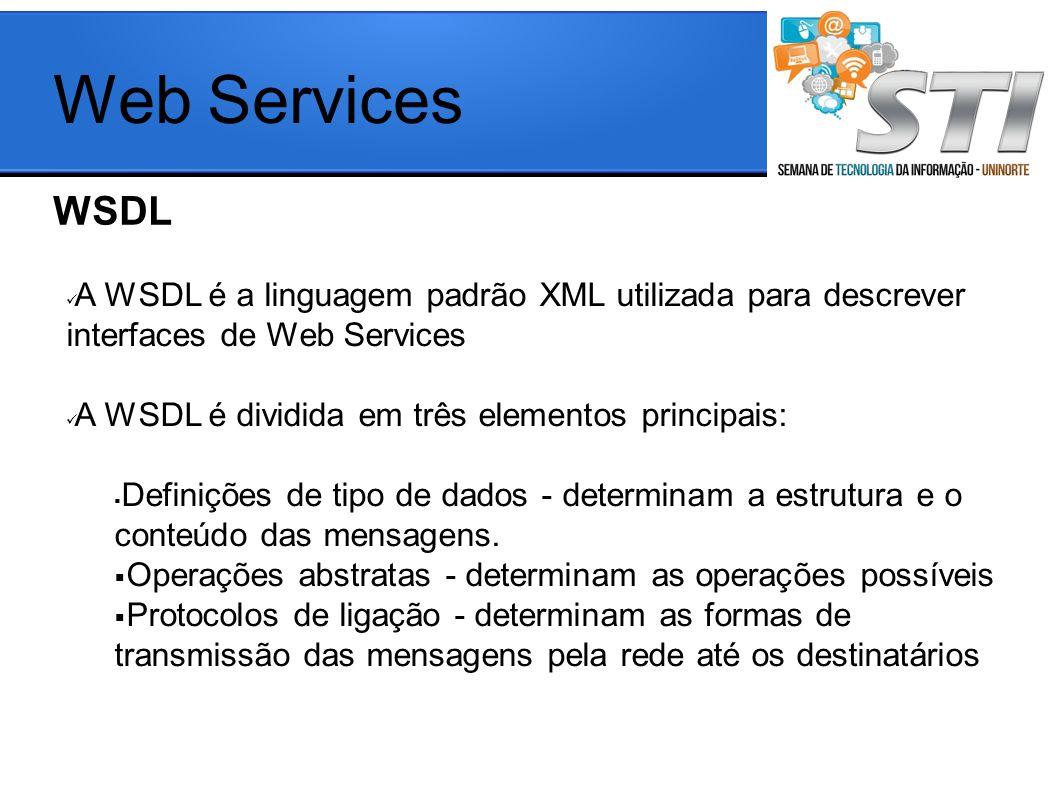 WSDL Web Services A WSDL é a linguagem padrão XML utilizada para descrever interfaces de Web Services A WSDL é dividida em três elementos principais: Definições de tipo de dados - determinam a estrutura e o conteúdo das mensagens.