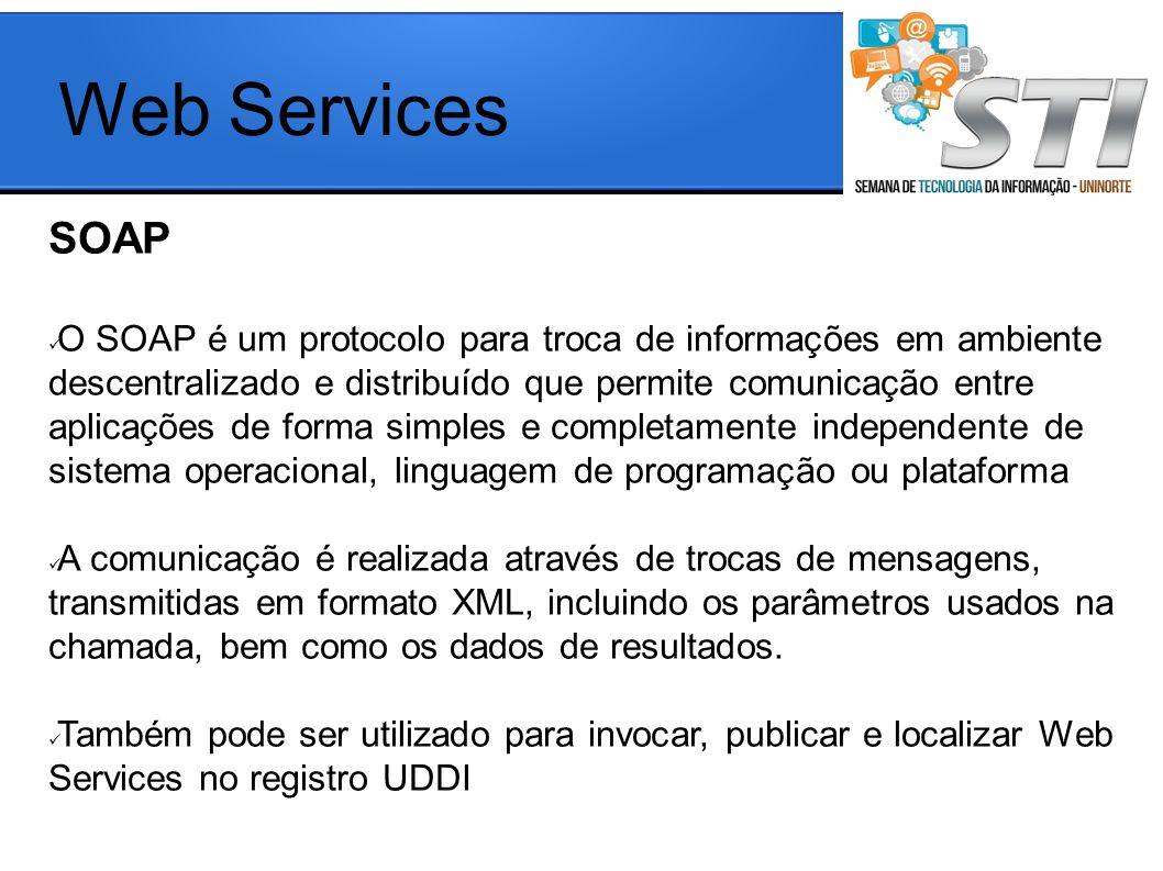 SOAP O SOAP é um protocolo para troca de informações em ambiente descentralizado e distribuído que permite comunicação entre aplicações de forma simples e completamente independente de sistema operacional, linguagem de programação ou plataforma A comunicação é realizada através de trocas de mensagens, transmitidas em formato XML, incluindo os parâmetros usados na chamada, bem como os dados de resultados.
