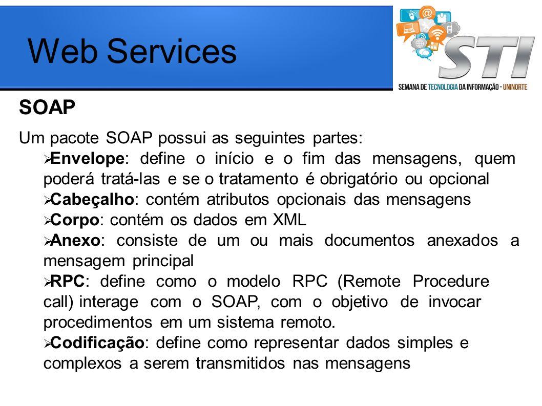 Web Services SOAP aaa Um pacote SOAP possui as seguintes partes: Envelope: define o início e o fim das mensagens, quem poderá tratá-las e se o tratamento é obrigatório ou opcional Cabeçalho: contém atributos opcionais das mensagens Corpo: contém os dados em XML Anexo: consiste de um ou mais documentos anexados a mensagem principal RPC: define como o modelo RPC (Remote Procedure call) interage com o SOAP, com o objetivo de invocar procedimentos em um sistema remoto.