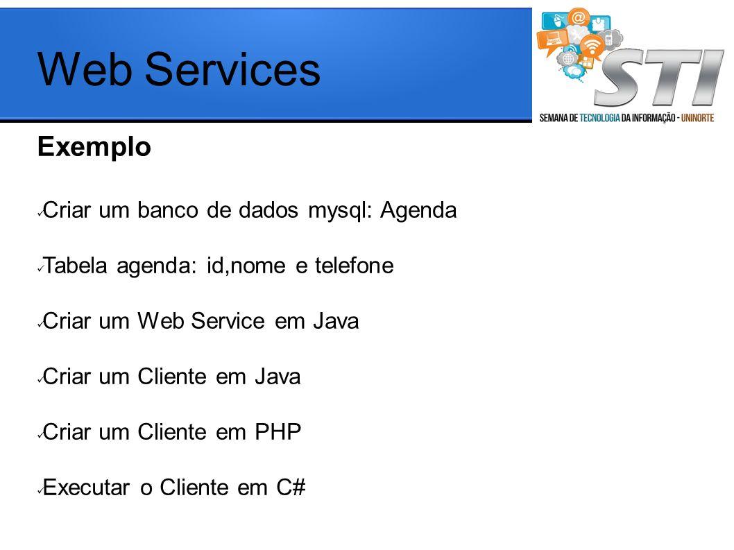 Exemplo Criar um banco de dados mysql: Agenda Tabela agenda: id,nome e telefone Criar um Web Service em Java Criar um Cliente em Java Criar um Cliente em PHP Executar o Cliente em C# Web Services