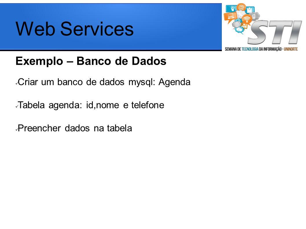 Exemplo – Banco de Dados Criar um banco de dados mysql: Agenda Tabela agenda: id,nome e telefone Preencher dados na tabela Web Services