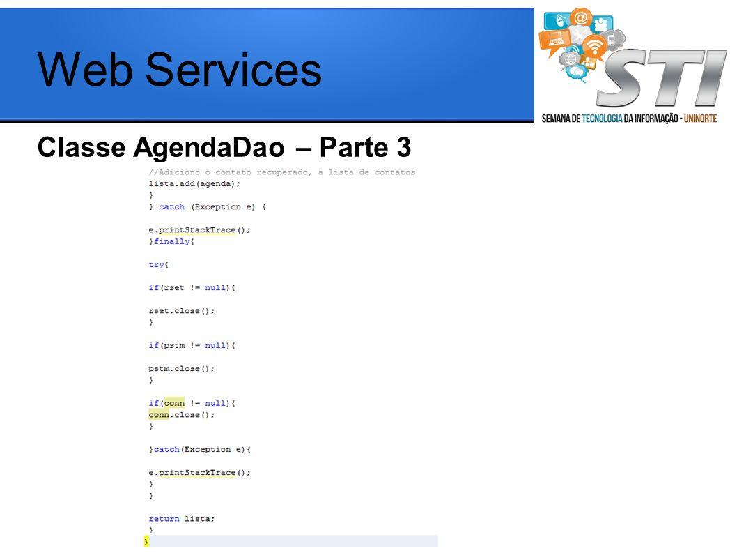 Classe AgendaDao – Parte 3 Web Services