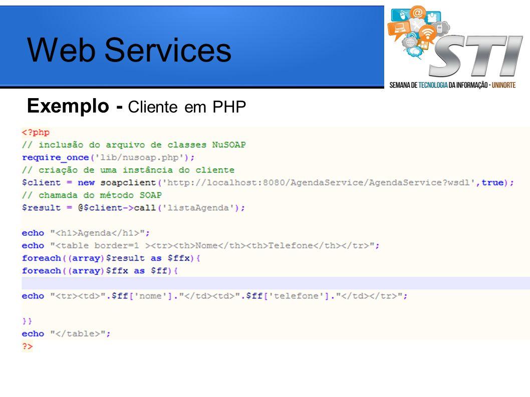 Exemplo - Cliente em PHP Web Services