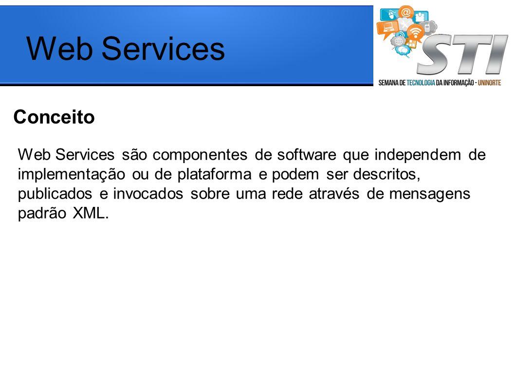 Conceito Web Services Web Services são componentes de software que independem de implementação ou de plataforma e podem ser descritos, publicados e invocados sobre uma rede através de mensagens padrão XML.