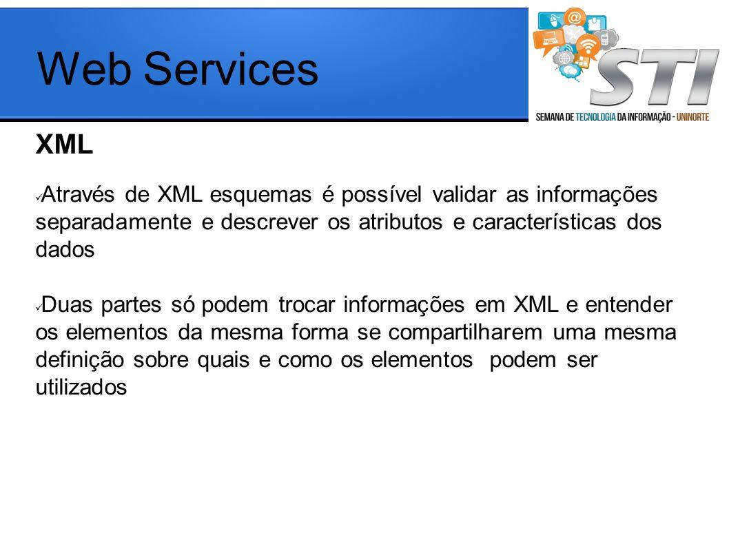 Web Services XML Através de XML esquemas é possível validar as informações separadamente e descrever os atributos e características dos dados Duas partes só podem trocar informações em XML e entender os elementos da mesma forma se compartilharem uma mesma definição sobre quais e como os elementos podem ser utilizados