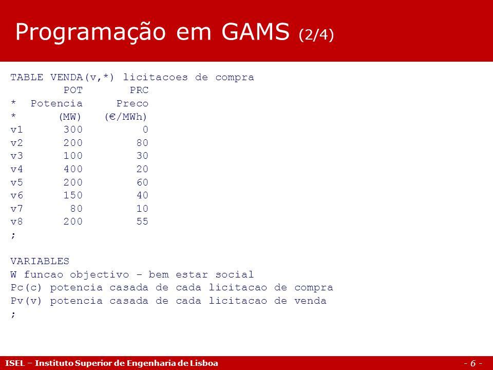 - 6 - ISEL – Instituto Superior de Engenharia de Lisboa Programação em GAMS (2/4) TABLE VENDA(v,*) licitacoes de compra POT PRC * Potencia Preco * (MW