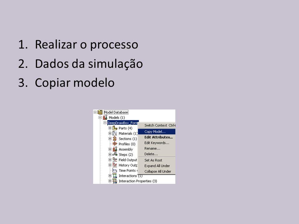 1.Realizar o processo 2.Dados da simulação 3.Copiar modelo