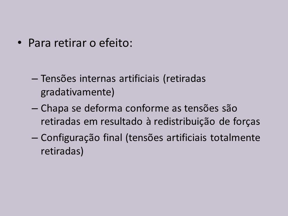 Para retirar o efeito: – Tensões internas artificiais (retiradas gradativamente) – Chapa se deforma conforme as tensões são retiradas em resultado à r