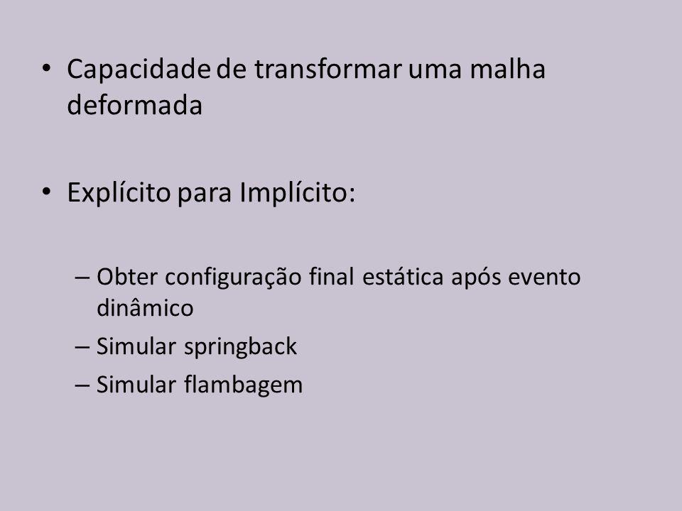 Capacidade de transformar uma malha deformada Explícito para Implícito: – Obter configuração final estática após evento dinâmico – Simular springback