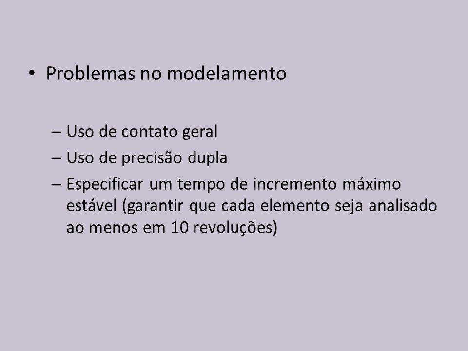 Problemas no modelamento – Uso de contato geral – Uso de precisão dupla – Especificar um tempo de incremento máximo estável (garantir que cada element