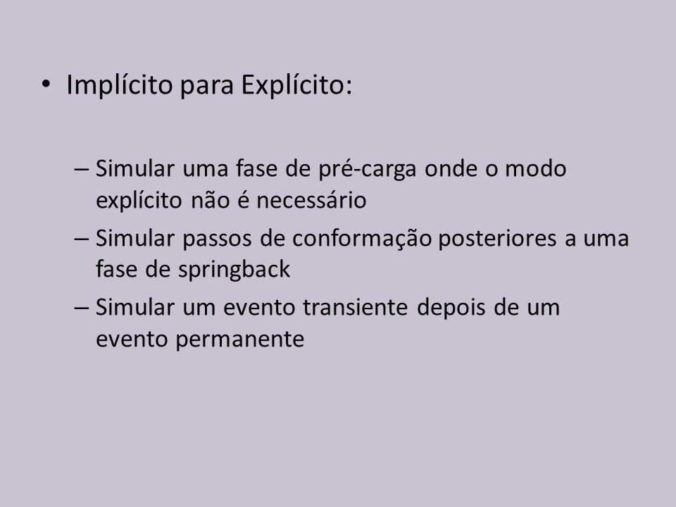 Implícito para Explícito: – Simular uma fase de pré-carga onde o modo explícito não é necessário – Simular passos de conformação posteriores a uma fas