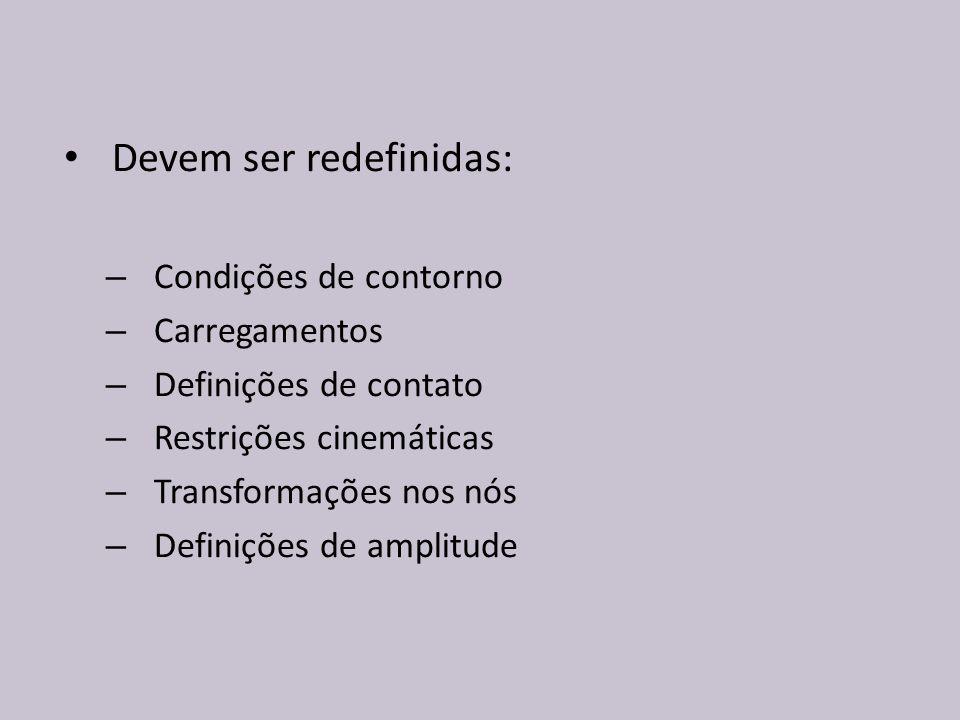 Devem ser redefinidas: – Condições de contorno – Carregamentos – Definições de contato – Restrições cinemáticas – Transformações nos nós – Definições