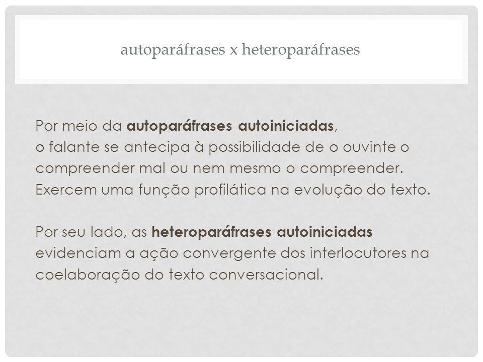 autoparáfrases x heteroparáfrases Por meio da autoparáfrases autoiniciadas, o falante se antecipa à possibilidade de o ouvinte o compreender mal ou ne