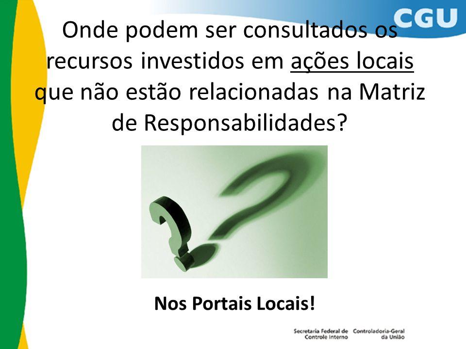 Onde podem ser consultados os recursos investidos em ações locais que não estão relacionadas na Matriz de Responsabilidades.