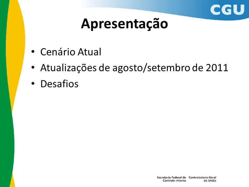 Apresentação Cenário Atual Atualizações de agosto/setembro de 2011 Desafios