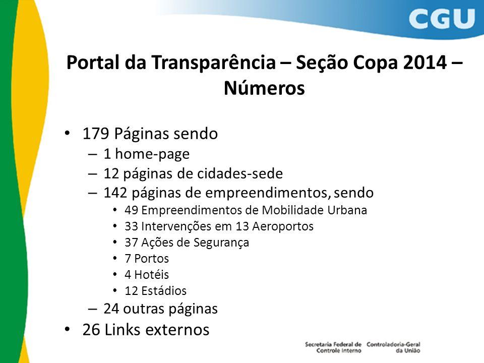 Portal da Transparência – Seção Copa 2014 – Números 179 Páginas sendo – 1 home-page – 12 páginas de cidades-sede – 142 páginas de empreendimentos, sen
