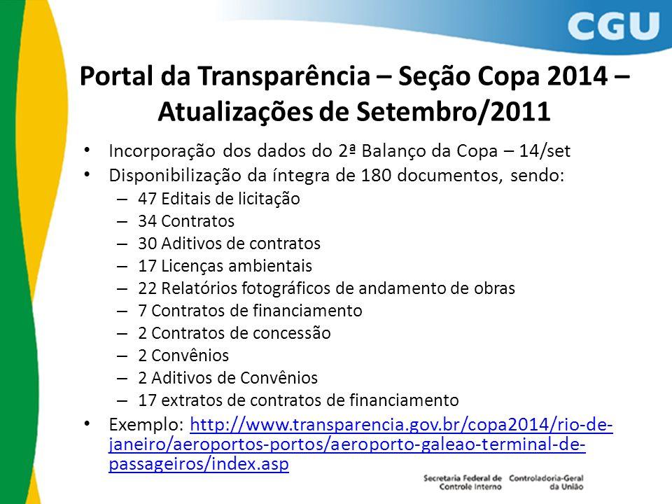 Portal da Transparência – Seção Copa 2014 – Atualizações de Setembro/2011 Incorporação dos dados do 2ª Balanço da Copa – 14/set Disponibilização da ín