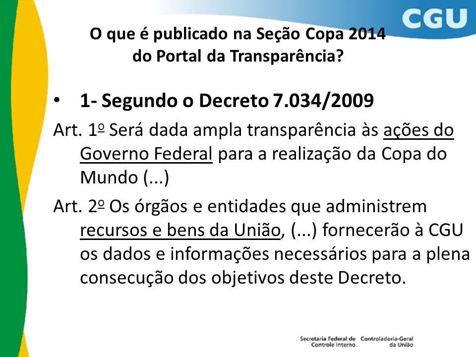 O que é publicado na Seção Copa 2014 do Portal da Transparência? 1- Segundo o Decreto 7.034/2009 Art. 1 o Será dada ampla transparência às ações do Go
