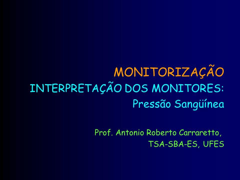 MONITORIZAÇÃO INTERPRETAÇÃO DOS MONITORES: Pressão Sangüínea Prof. Antonio Roberto Carraretto, TSA-SBA-ES, UFES