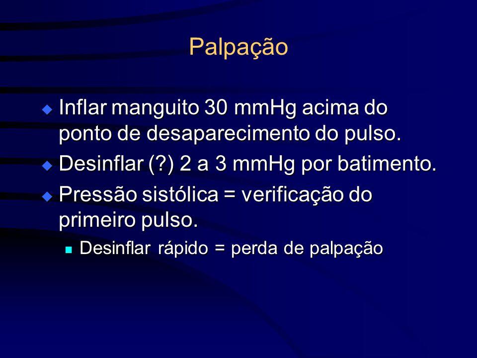 Palpação Inflar manguito 30 mmHg acima do ponto de desaparecimento do pulso. Inflar manguito 30 mmHg acima do ponto de desaparecimento do pulso. Desin
