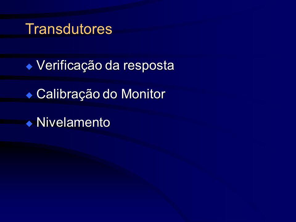Transdutores Verificação da resposta Verificação da resposta Calibração do Monitor Calibração do Monitor Nivelamento Nivelamento