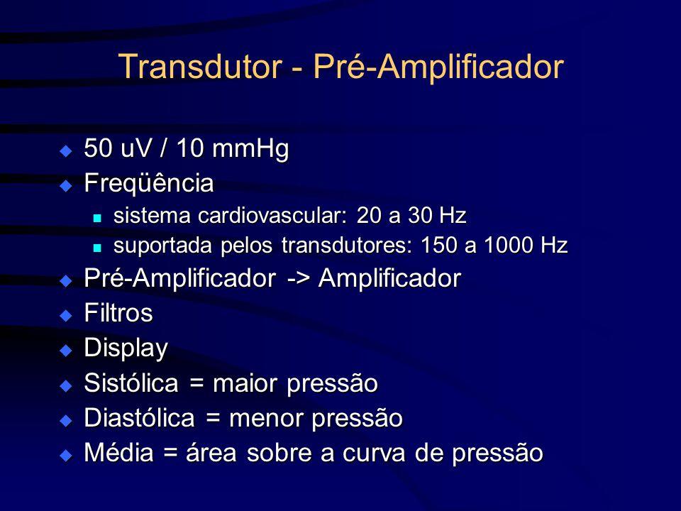 Transdutor - Pré-Amplificador 50 uV / 10 mmHg 50 uV / 10 mmHg Freqüência Freqüência sistema cardiovascular: 20 a 30 Hz sistema cardiovascular: 20 a 30