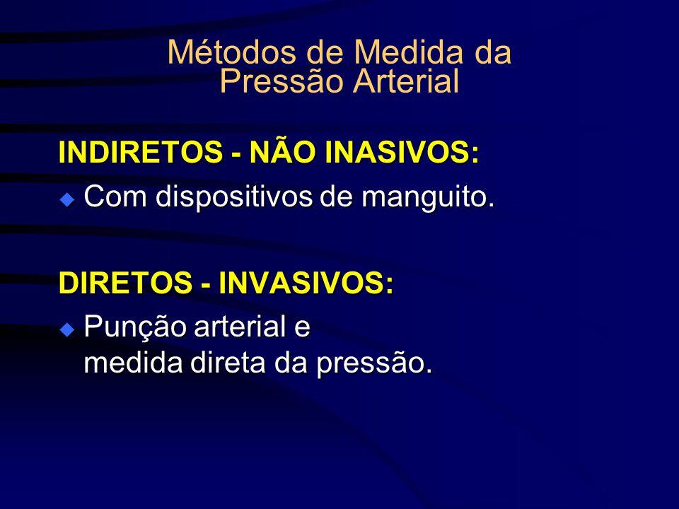 Métodos de Medida da Pressão Arterial INDIRETOS - NÃO INASIVOS: Com dispositivos de manguito. Com dispositivos de manguito. DIRETOS - INVASIVOS: Punçã