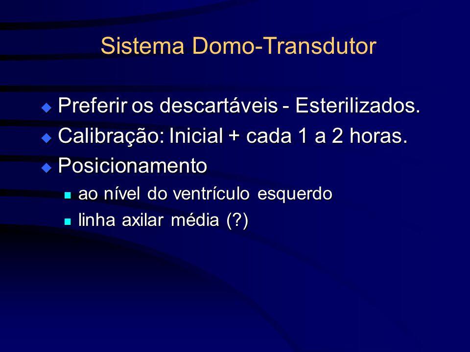 Sistema Domo-Transdutor Preferir os descartáveis - Esterilizados. Preferir os descartáveis - Esterilizados. Calibração: Inicial + cada 1 a 2 horas. Ca