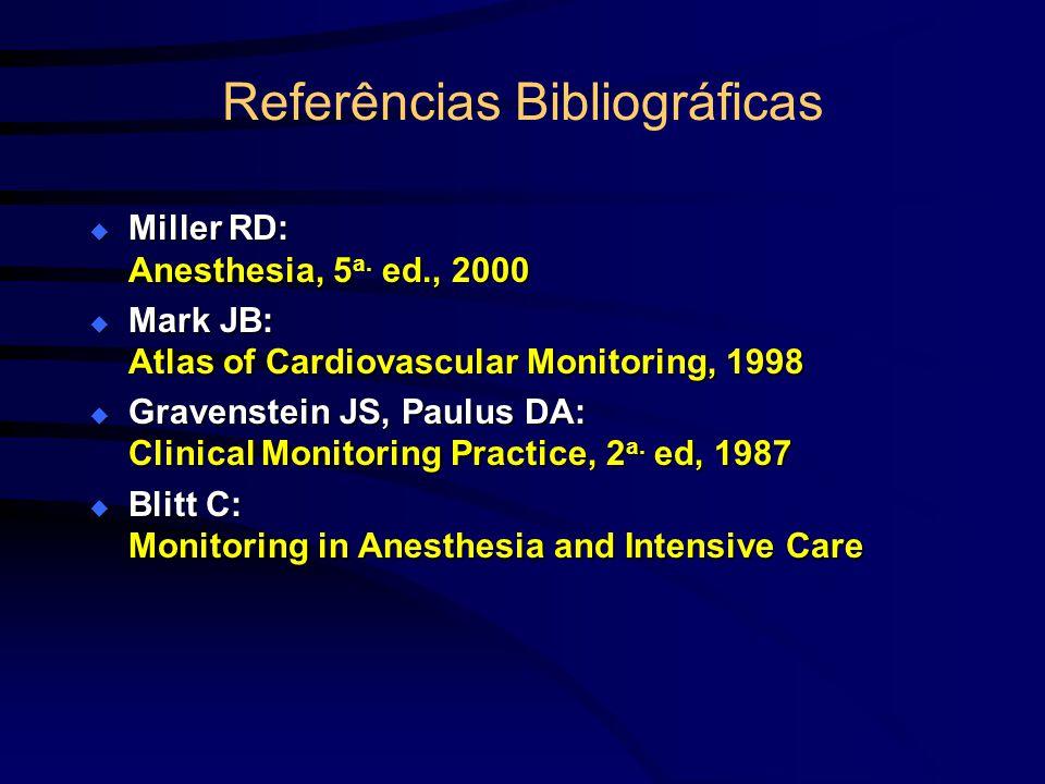 Referências Bibliográficas Miller RD: Anesthesia, 5 a. ed., 2000 Miller RD: Anesthesia, 5 a. ed., 2000 Mark JB: Atlas of Cardiovascular Monitoring, 19