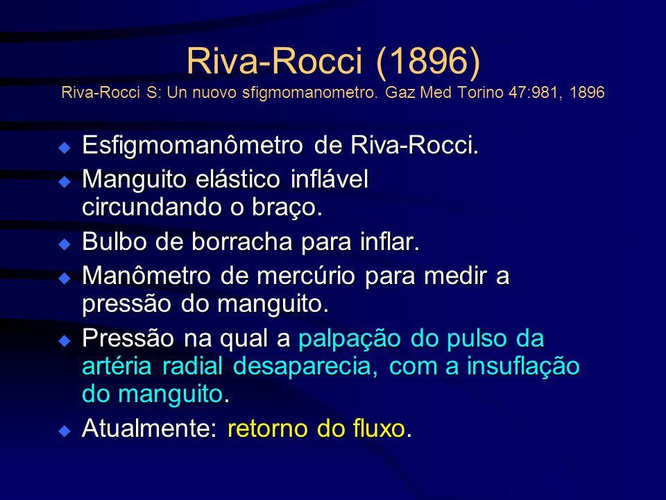 Riva-Rocci (1896) Riva-Rocci S: Un nuovo sfigmomanometro. Gaz Med Torino 47:981, 1896 Esfigmomanômetro de Riva-Rocci. Esfigmomanômetro de Riva-Rocci.